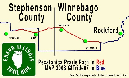 Pecatonica Prairie Path not on Grand Illinois Trail Ride